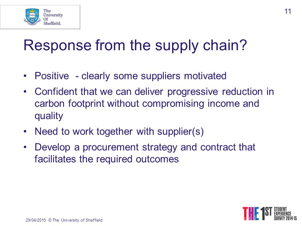 Response from the supply chain.