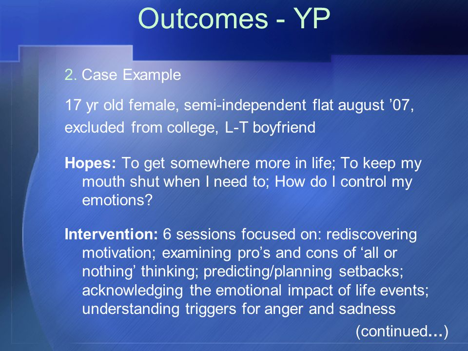 Outcomes - YP 2.