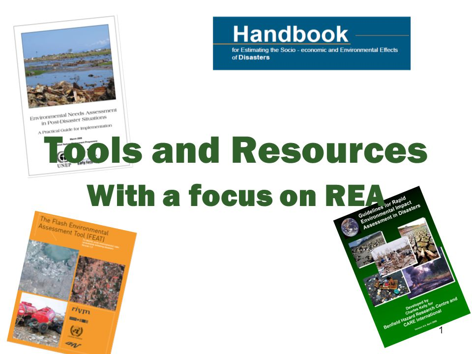 2 In this session, we will… Identify the key tools and resources regarding environmental activities Describe the REA and its strengths and Identify appropriate situations for its application