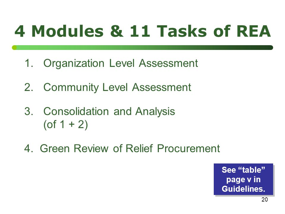 20 4 Modules & 11 Tasks of REA 1.Organization Level Assessment 2.Community Level Assessment 3.Consolidation and Analysis (of 1 + 2) 4.