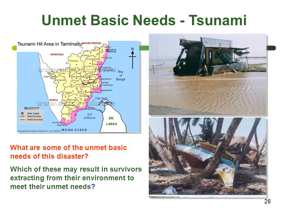 26 Unmet Basic Needs - Tsunami What are some of the unmet basic needs of this disaster? Which of these may result in survivors extracting from their e