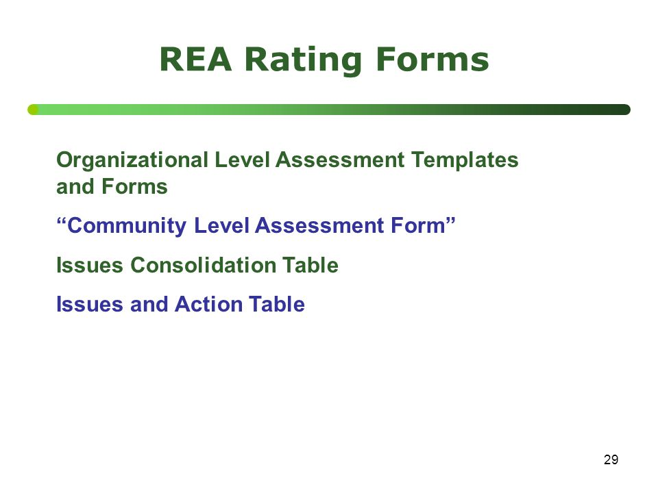 "29 REA Rating Forms Organizational Level Assessment Templates and Forms ""Community Level Assessment Form"" Issues Consolidation Table Issues and Action"