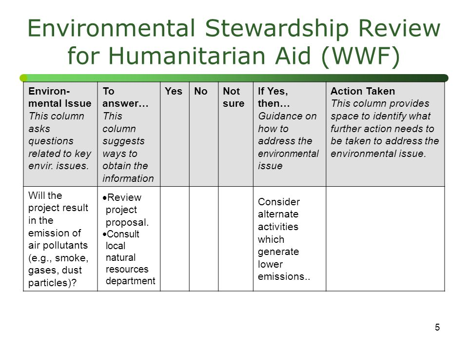 5 Environmental Stewardship Review for Humanitarian Aid (WWF) Environ- mental Issue This column asks questions related to key envir. issues. To answer
