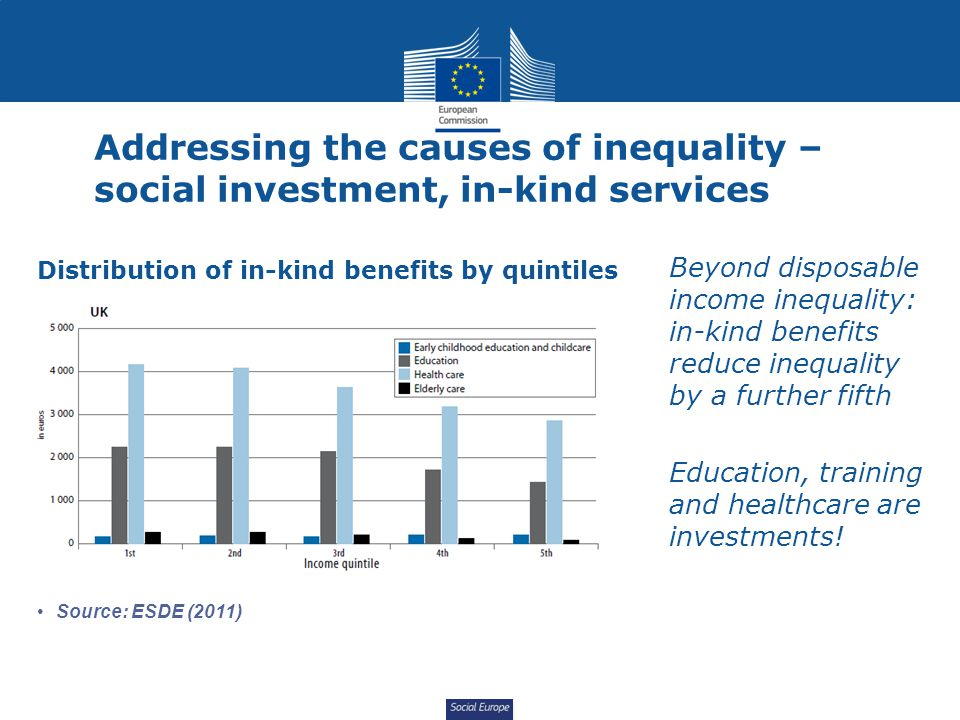 Social Europe Addressing the causes of inequality – social investment, in-kind services Beyond disposable income inequality: in-kind benefits reduce i