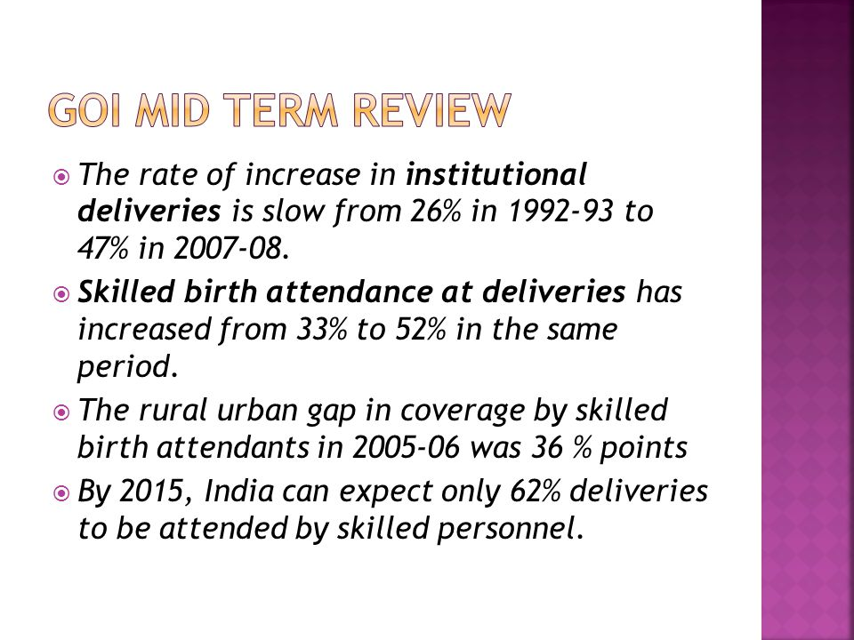  The rate of increase in institutional deliveries is slow from 26% in 1992-93 to 47% in 2007-08.
