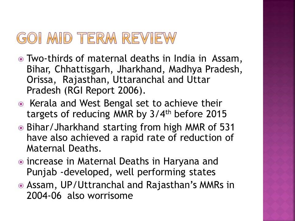  Two-thirds of maternal deaths in India in Assam, Bihar, Chhattisgarh, Jharkhand, Madhya Pradesh, Orissa, Rajasthan, Uttaranchal and Uttar Pradesh (R