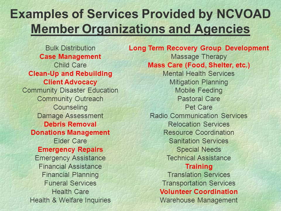 Examples of Services Provided by NCVOAD Member Organizations and Agencies Bulk Distribution Case Management Child Care Clean-Up and Rebuilding Client Advocacy Community Disaster Education Community Outreach Counseling Damage Assessment Debris Removal Donations Management Elder Care Emergency Repairs Emergency Assistance Financial Assistance Financial Planning Funeral Services Health Care Health & Welfare Inquiries Long Term Recovery Group Development Massage Therapy Mass Care (Food, Shelter, etc.) Mental Health Services Mitigation Planning Mobile Feeding Pastoral Care Pet Care Radio Communication Services Relocation Services Resource Coordination Sanitation Services Special Needs Technical Assistance Training Translation Services Transportation Services Volunteer Coordination Warehouse Management