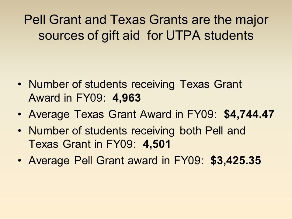 Pell Grant and Texas Grants are the major sources of gift aid for UTPA students Number of students receiving Texas Grant Award in FY09: 4,963 Average Texas Grant Award in FY09: $4,744.47 Number of students receiving both Pell and Texas Grant in FY09: 4,501 Average Pell Grant award in FY09: $3,425.35