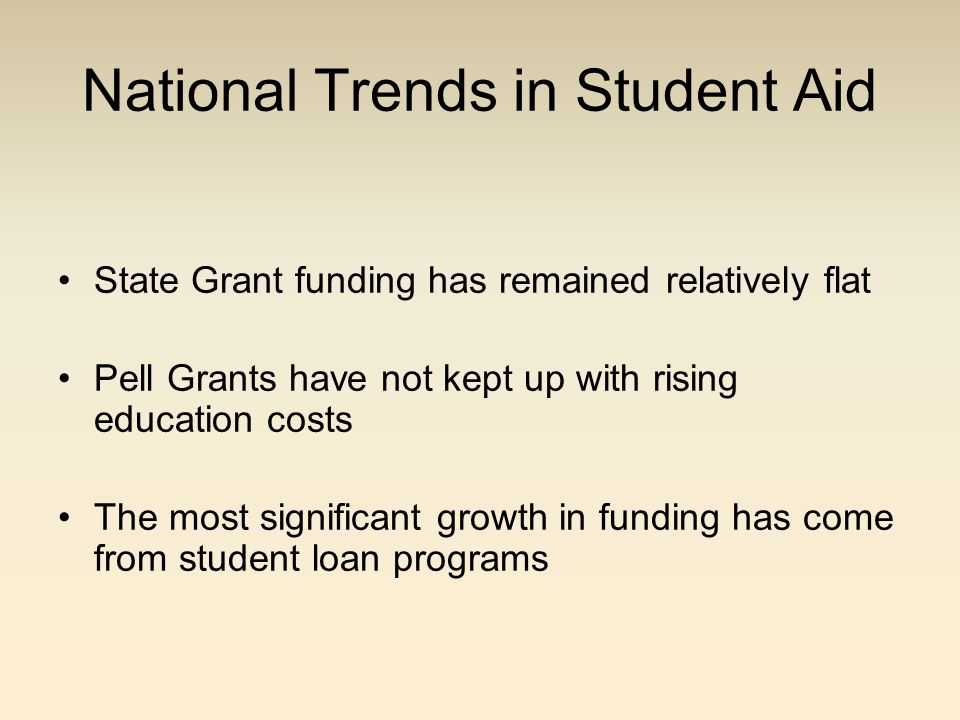 National Trends in Student Aid State Grant funding has remained relatively flat Pell Grants have not kept up with rising education costs The most significant growth in funding has come from student loan programs