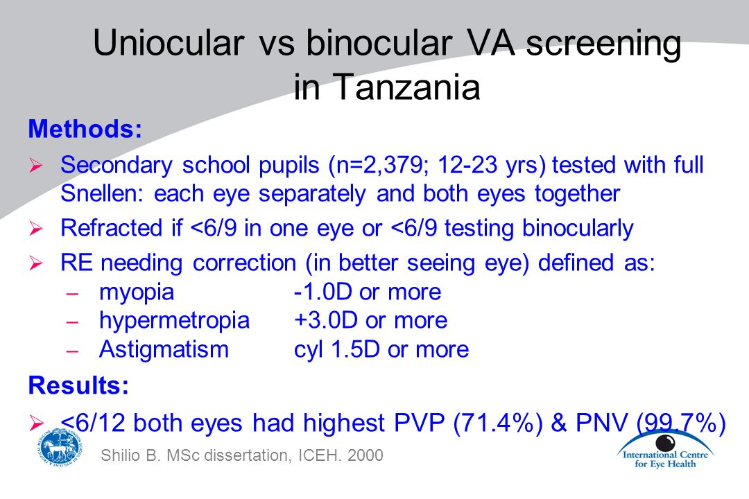 Uniocular vs binocular VA screening in Tanzania Methods:  Secondary school pupils (n=2,379; 12-23 yrs) tested with full Snellen: each eye separately and both eyes together  Refracted if <6/9 in one eye or <6/9 testing binocularly  RE needing correction (in better seeing eye) defined as: – myopia -1.0D or more – hypermetropia +3.0D or more – Astigmatism cyl 1.5D or more Results:  <6/12 both eyes had highest PVP (71.4%) & PNV (99.7%) Shilio B.