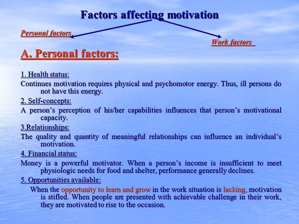 Factors affecting motivation B.