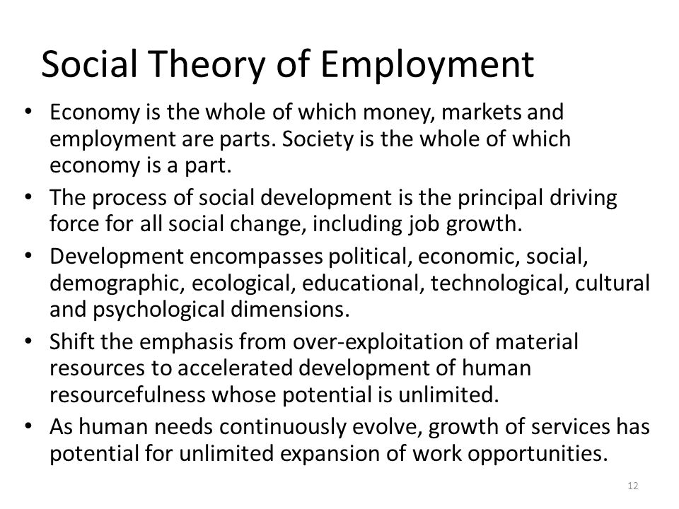 Social Theory of Employment Economy is the whole of which money, markets and employment are parts.