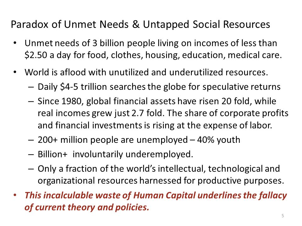 Paradox of Unmet Needs & Untapped Social Resources Unmet needs of 3 billion people living on incomes of less than $2.50 a day for food, clothes, housing, education, medical care.