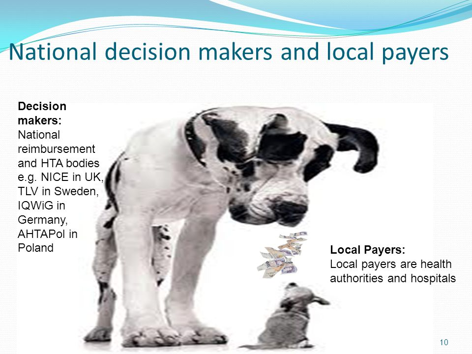 National decision makers and local payers 10 Decision makers: National reimbursement and HTA bodies e.g.