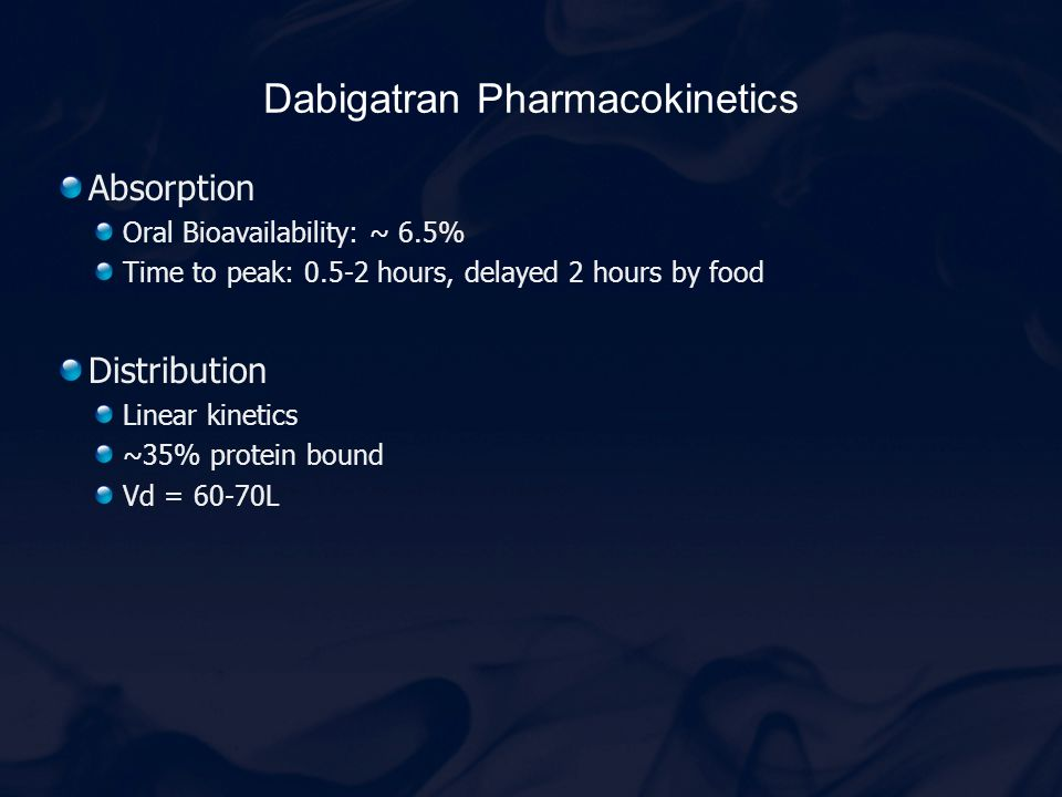 Dabigatran Pharmacokinetics Absorption Oral Bioavailability: ~ 6.5% Time to peak: 0.5-2 hours, delayed 2 hours by food Distribution Linear kinetics ~3