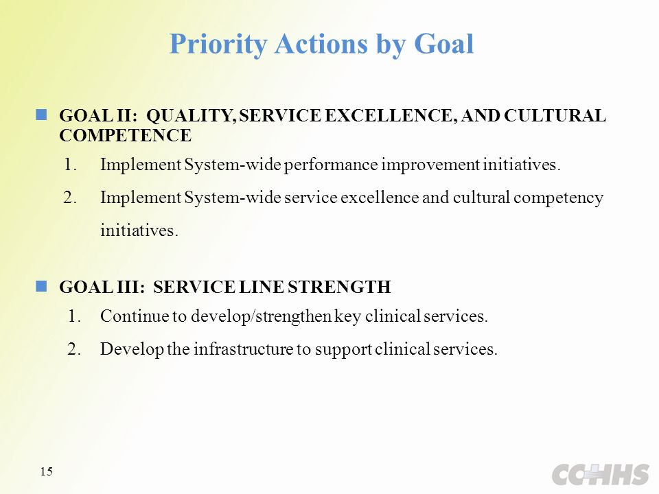 GOAL II: QUALITY, SERVICE EXCELLENCE, AND CULTURAL COMPETENCE 1.Implement System-wide performance improvement initiatives.