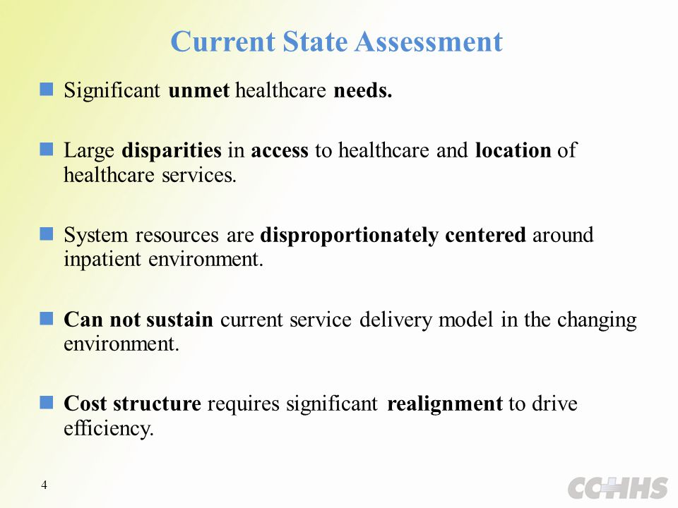 Current State Assessment Significant unmet healthcare needs.