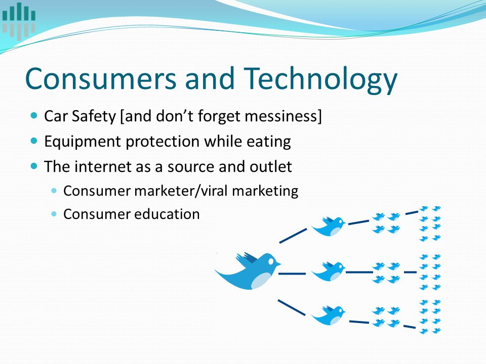 Consumers and Technology Car Safety [and don't forget messiness] Equipment protection while eating The internet as a source and outlet Consumer marketer/viral marketing Consumer education