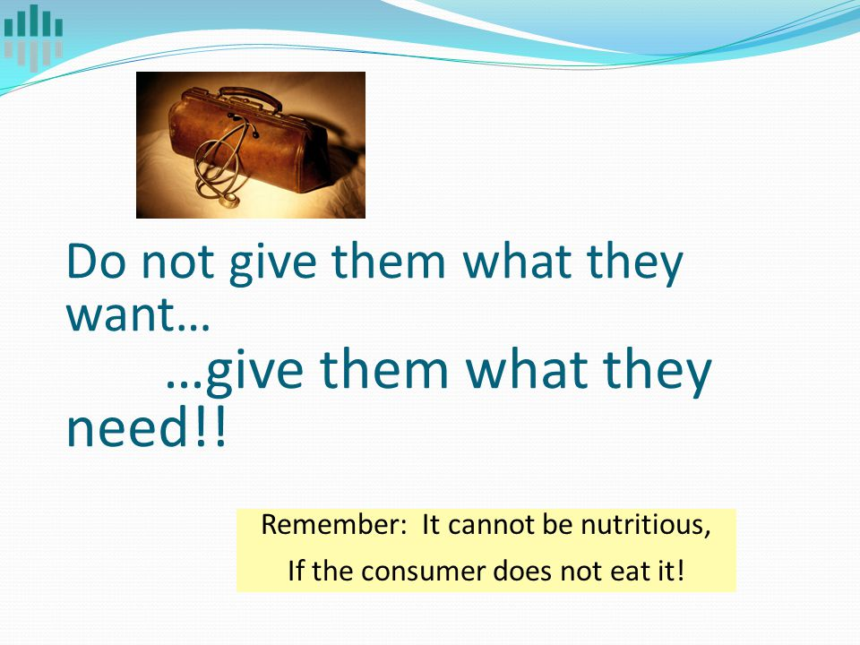 Do not give them what they want… …give them what they need!! Remember: It cannot be nutritious, If the consumer does not eat it!