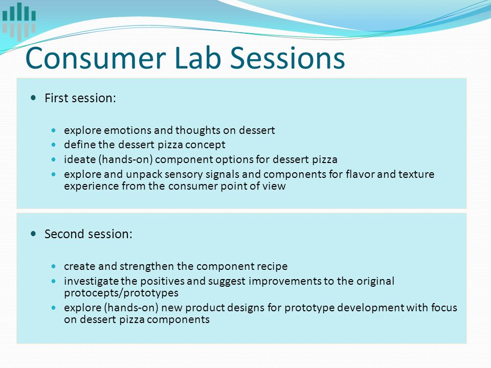 Consumer Lab Sessions First session: explore emotions and thoughts on dessert define the dessert pizza concept ideate (hands-on) component options for dessert pizza explore and unpack sensory signals and components for flavor and texture experience from the consumer point of view Second session: create and strengthen the component recipe investigate the positives and suggest improvements to the original protocepts/prototypes explore (hands-on) new product designs for prototype development with focus on dessert pizza components