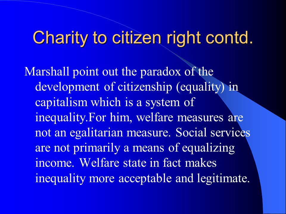 Charity to citizen right contd.