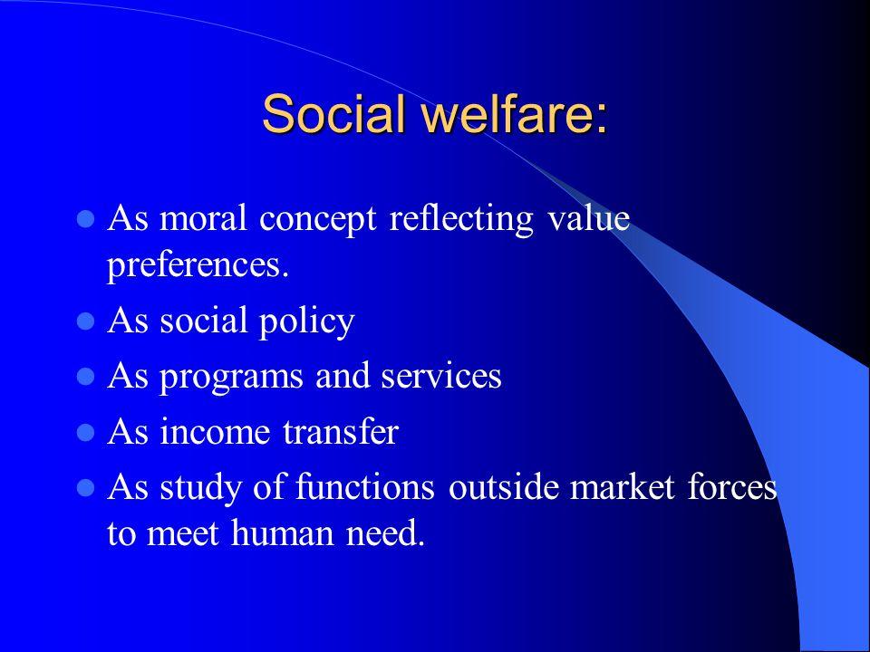 Social welfare: As moral concept reflecting value preferences.