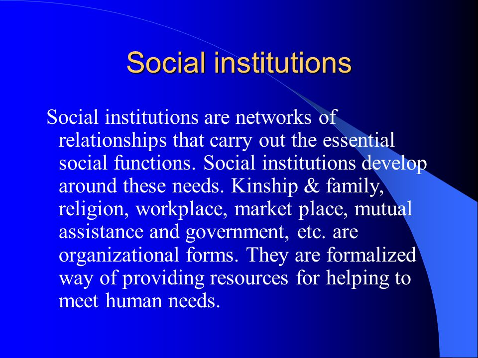 Social institutions Social institutions are networks of relationships that carry out the essential social functions.