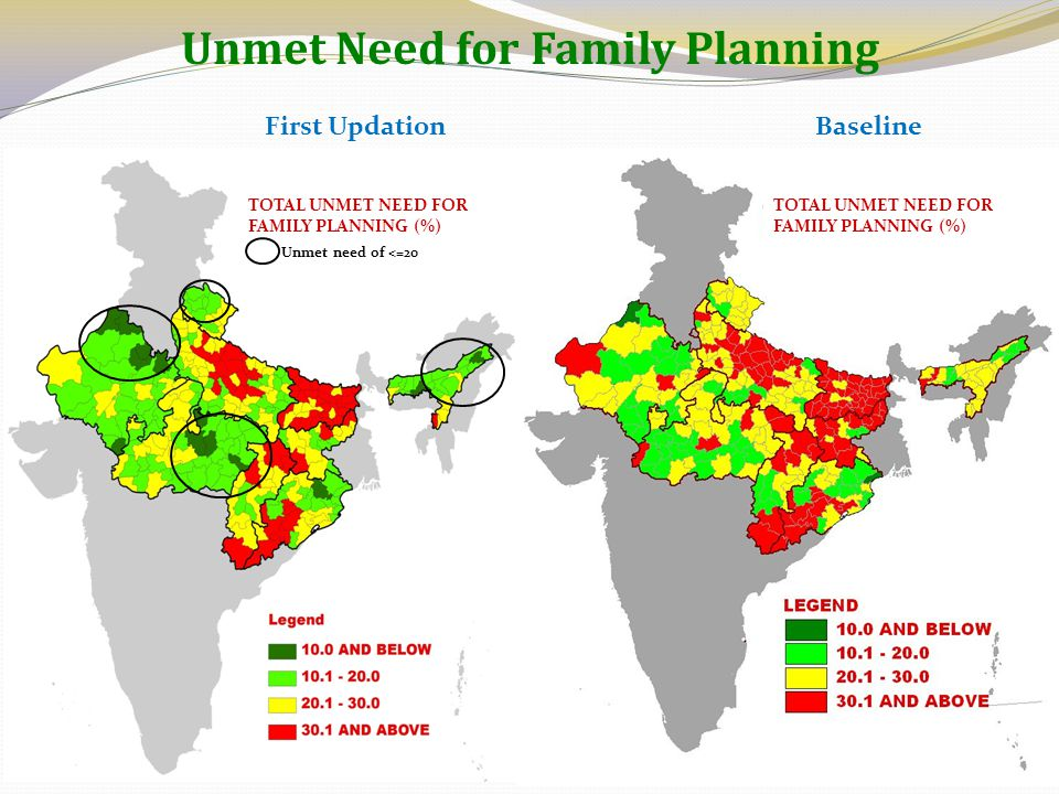 Unmet Need for Family Planning BaselineFirst Updation TOTAL UNMET NEED FOR FAMILY PLANNING (%) Unmet need of <=20
