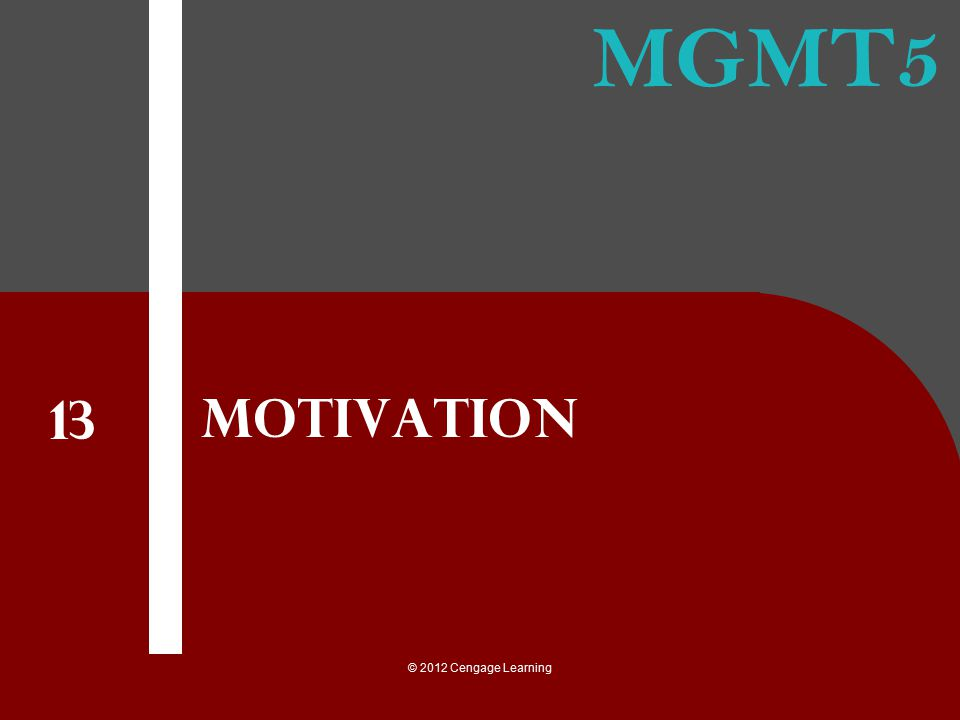 © 2012 Cengage Learning The Basics of Motivation Effort and performance Need satisfaction Extrinsic and intrinsic rewards How to motivate with the basic model of motivation
