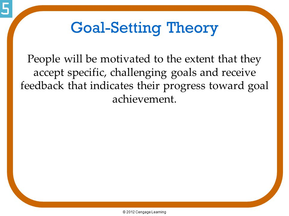 © 2012 Cengage Learning Goal-Setting Theory People will be motivated to the extent that they accept specific, challenging goals and receive feedback t