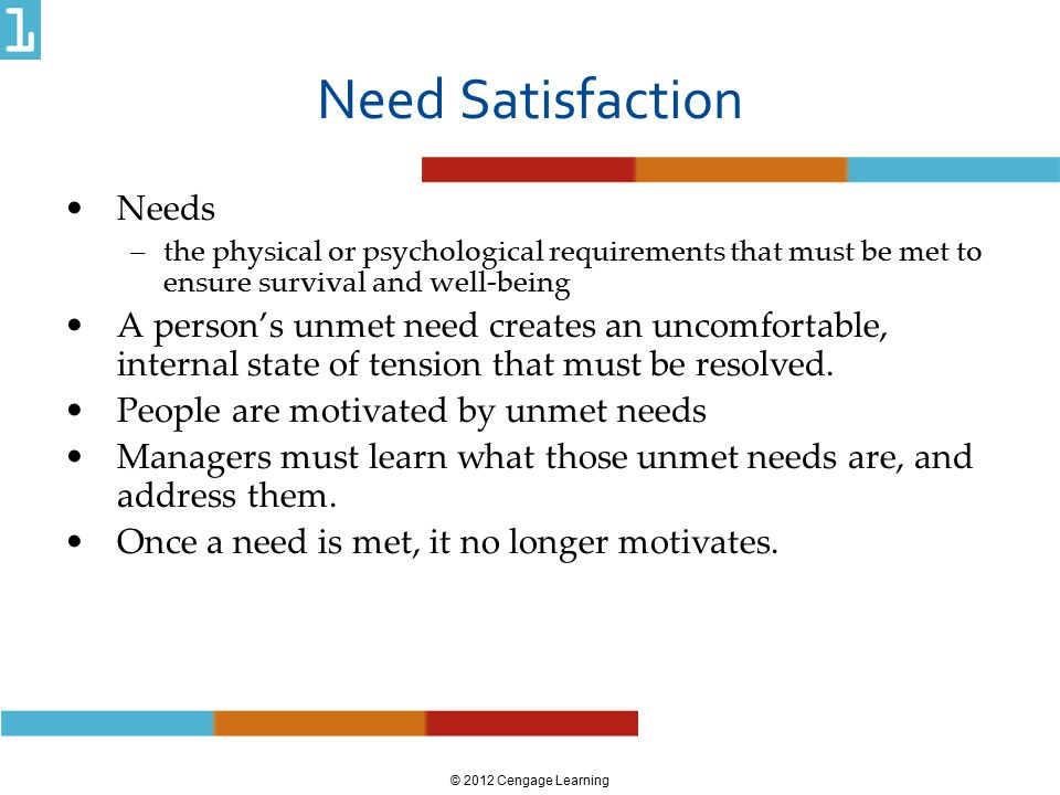© 2012 Cengage Learning Need Satisfaction Needs –the physical or psychological requirements that must be met to ensure survival and well-being A perso