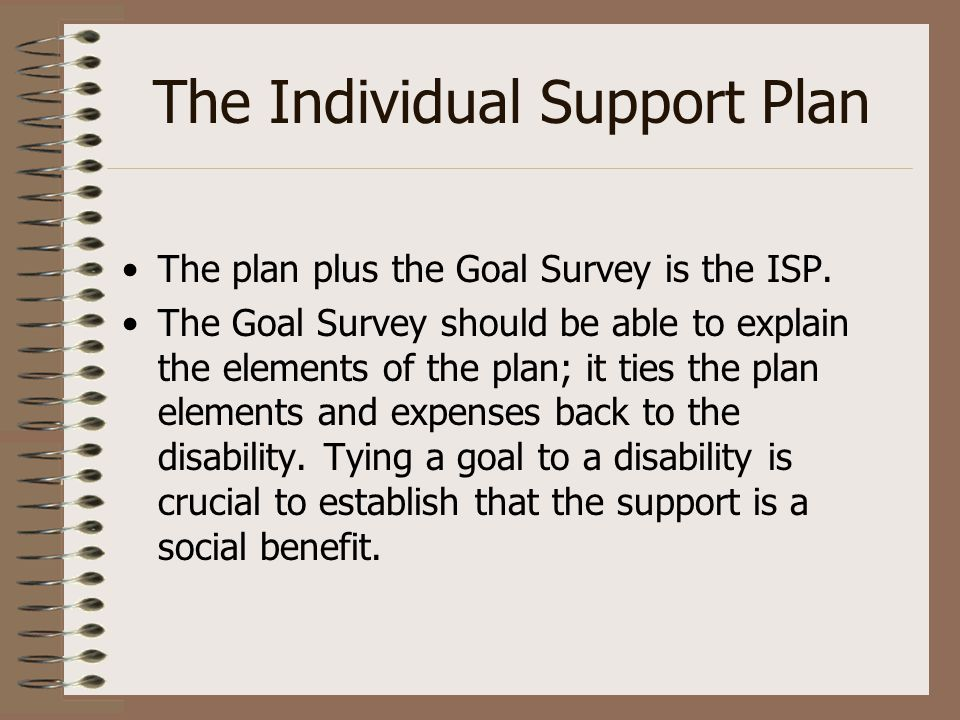 The Individual Support Plan The plan plus the Goal Survey is the ISP. The Goal Survey should be able to explain the elements of the plan; it ties the