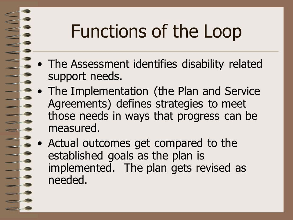 Functions of the Loop The Assessment identifies disability related support needs. The Implementation (the Plan and Service Agreements) defines strateg