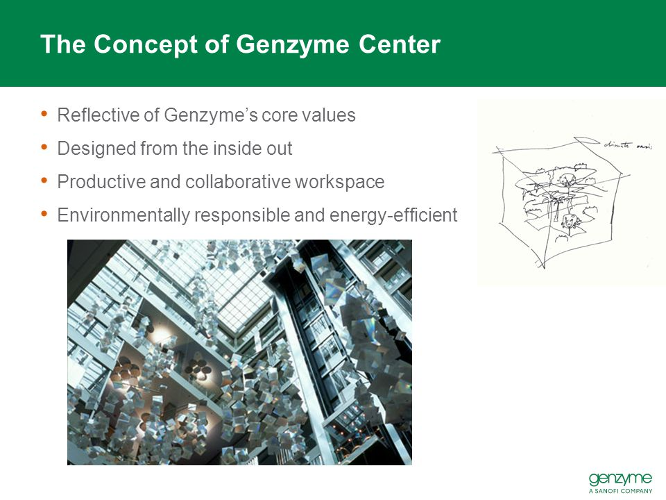 The Concept of Genzyme Center Reflective of Genzyme's core values Designed from the inside out Productive and collaborative workspace Environmentally responsible and energy-efficient