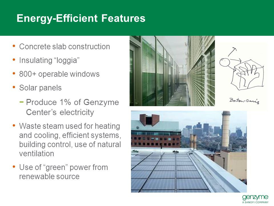Energy-Efficient Features Concrete slab construction Insulating loggia 800+ operable windows Solar panels −Produce 1% of Genzyme Center's electricity Waste steam used for heating and cooling, efficient systems, building control, use of natural ventilation Use of green power from renewable source