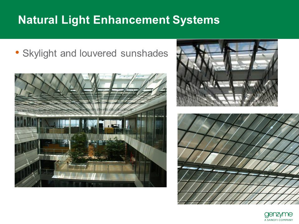 Natural Light Enhancement Systems Skylight and louvered sunshades