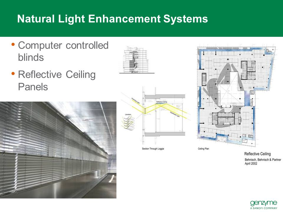 Natural Light Enhancement Systems Computer controlled blinds Reflective Ceiling Panels