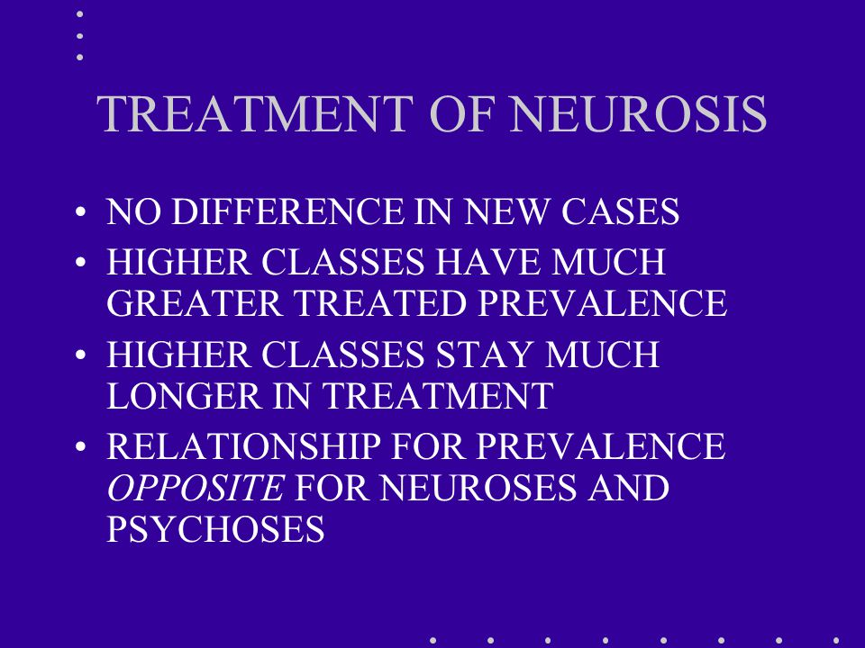 TREATMENT OF NEUROSIS NO DIFFERENCE IN NEW CASES HIGHER CLASSES HAVE MUCH GREATER TREATED PREVALENCE HIGHER CLASSES STAY MUCH LONGER IN TREATMENT RELATIONSHIP FOR PREVALENCE OPPOSITE FOR NEUROSES AND PSYCHOSES