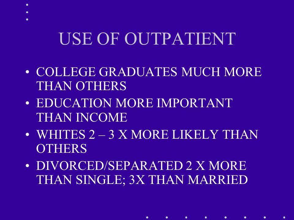 USE OF OUTPATIENT COLLEGE GRADUATES MUCH MORE THAN OTHERS EDUCATION MORE IMPORTANT THAN INCOME WHITES 2 – 3 X MORE LIKELY THAN OTHERS DIVORCED/SEPARATED 2 X MORE THAN SINGLE; 3X THAN MARRIED