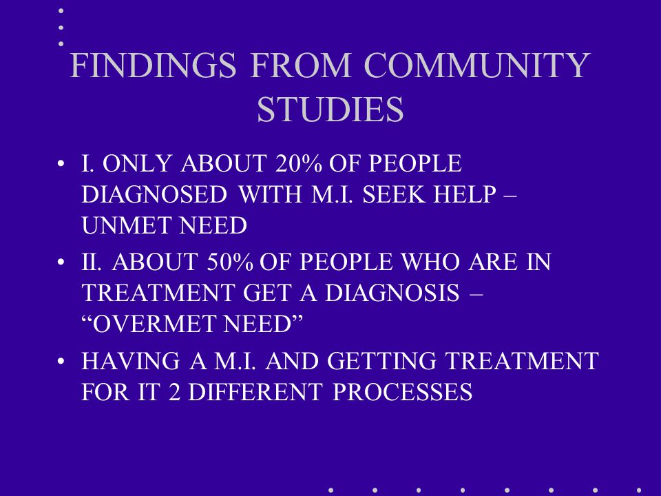 FINDINGS FROM COMMUNITY STUDIES I. ONLY ABOUT 20% OF PEOPLE DIAGNOSED WITH M.I.