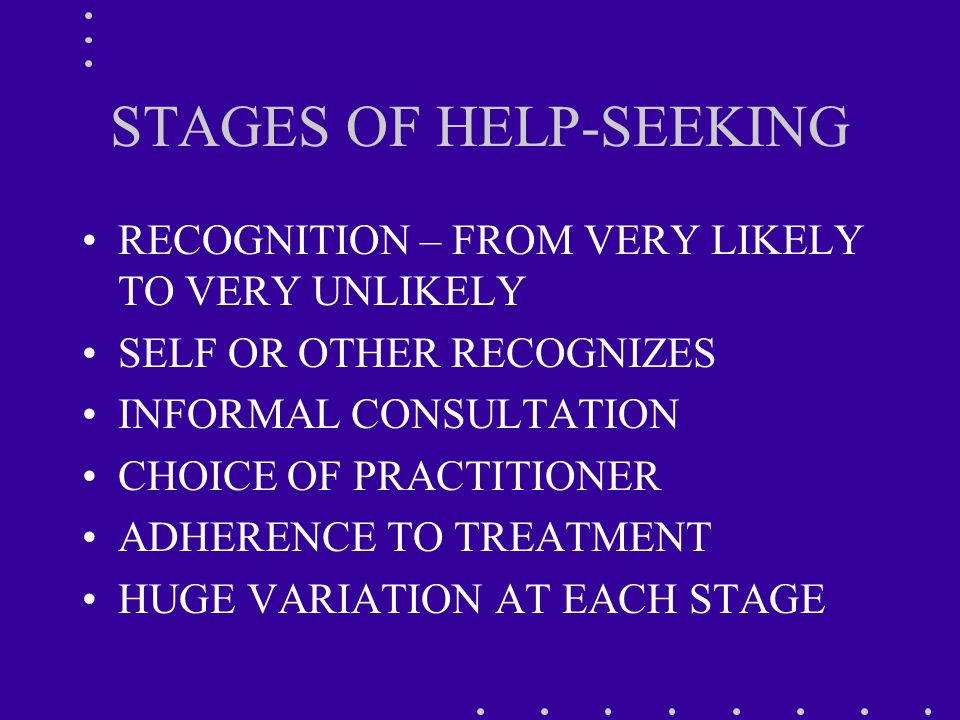 STAGES OF HELP-SEEKING RECOGNITION – FROM VERY LIKELY TO VERY UNLIKELY SELF OR OTHER RECOGNIZES INFORMAL CONSULTATION CHOICE OF PRACTITIONER ADHERENCE TO TREATMENT HUGE VARIATION AT EACH STAGE