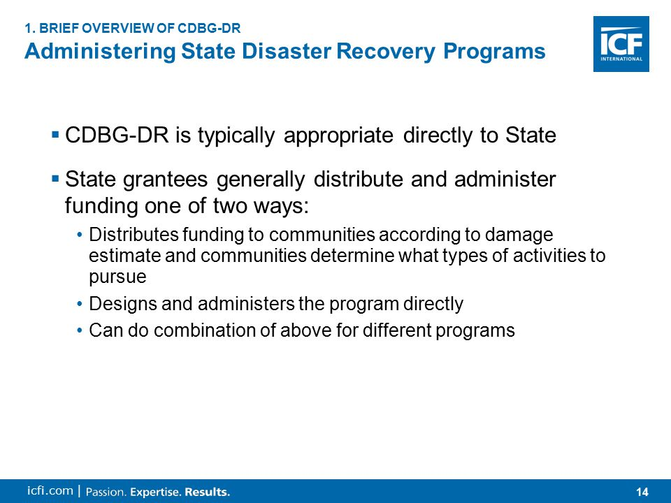 14 icfi.com | Administering State Disaster Recovery Programs 1. BRIEF OVERVIEW OF CDBG-DR  CDBG-DR is typically appropriate directly to State  State