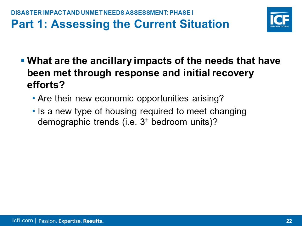 22 icfi.com |  What are the ancillary impacts of the needs that have been met through response and initial recovery efforts.