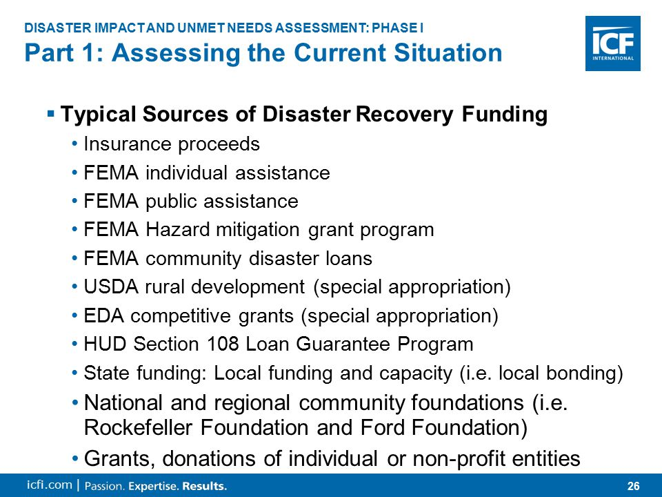 26 icfi.com |  Typical Sources of Disaster Recovery Funding Insurance proceeds FEMA individual assistance FEMA public assistance FEMA Hazard mitigation grant program FEMA community disaster loans USDA rural development (special appropriation) EDA competitive grants (special appropriation) HUD Section 108 Loan Guarantee Program State funding: Local funding and capacity (i.e.