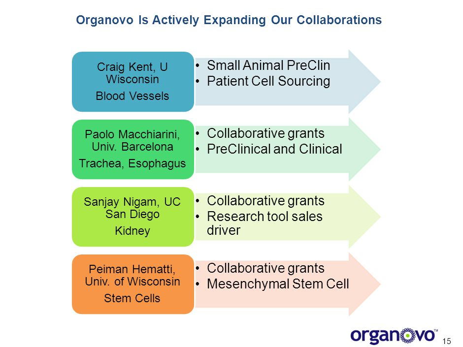 Organovo Is Actively Expanding Our Collaborations 15 Small Animal PreClin Patient Cell Sourcing Craig Kent, U Wisconsin Blood Vessels Collaborative gr