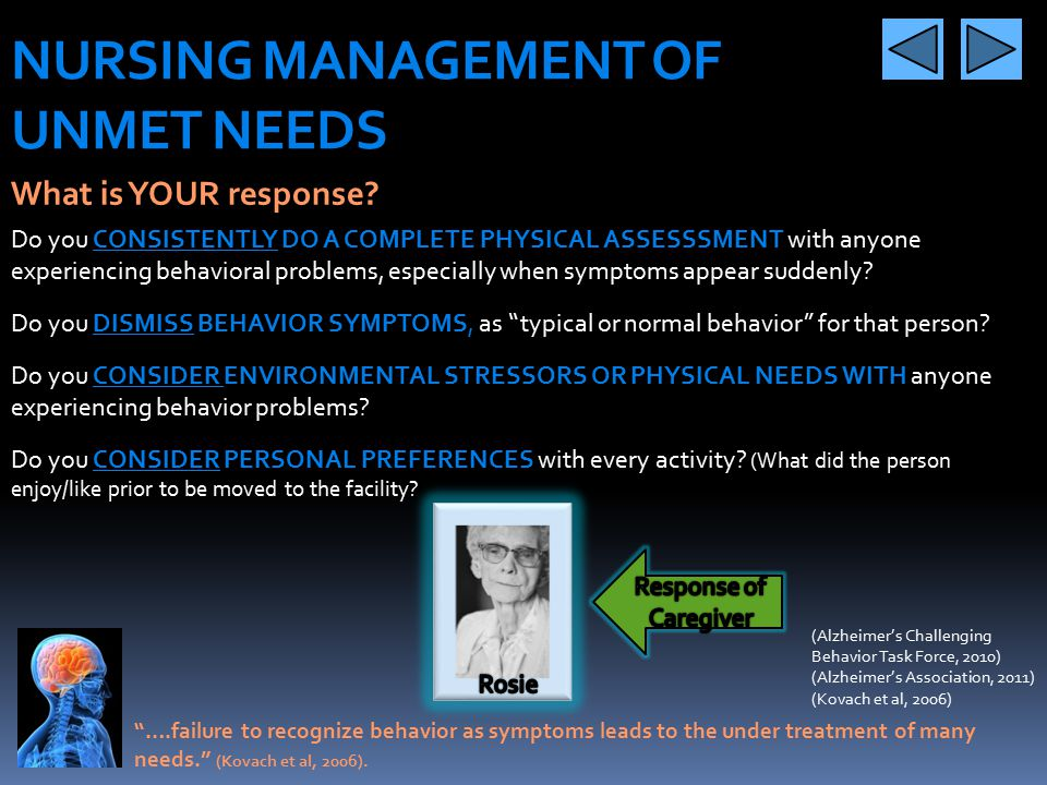 "NURSING MANAGEMENT OF UNMET NEEDS What are unmet needs? ""When behavioral symptoms are unnoticed, dismissed or not understood as symptoms of unmet need"