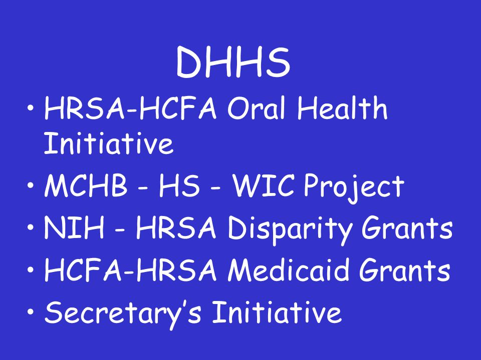 DHHS HRSA-HCFA Oral Health Initiative MCHB - HS - WIC Project NIH - HRSA Disparity Grants HCFA-HRSA Medicaid Grants Secretary's Initiative