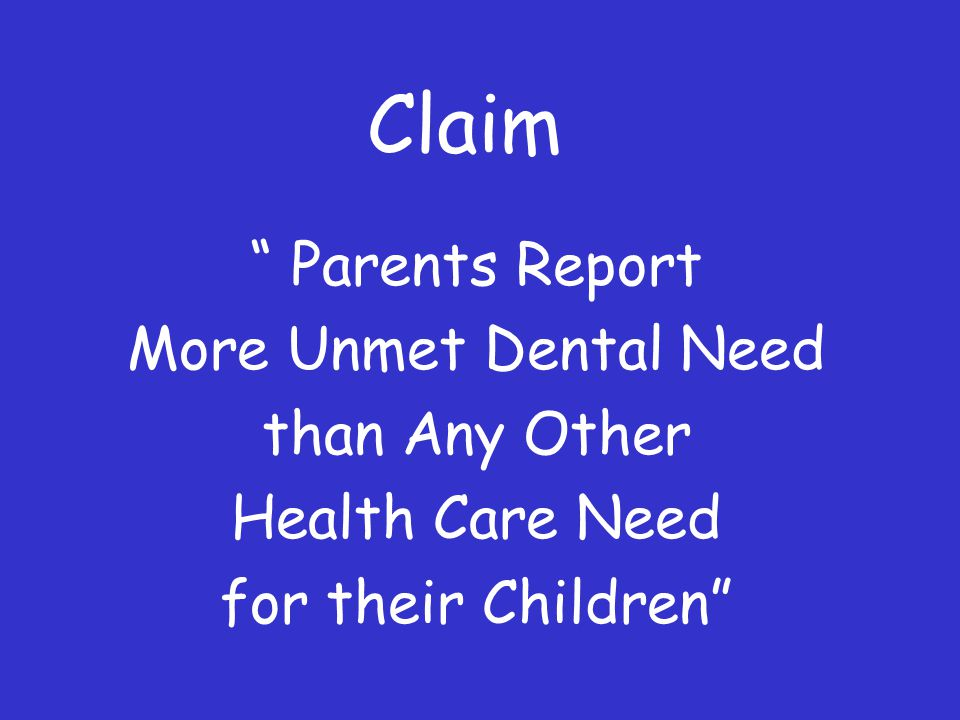Claim Parents Report More Unmet Dental Need than Any Other Health Care Need for their Children