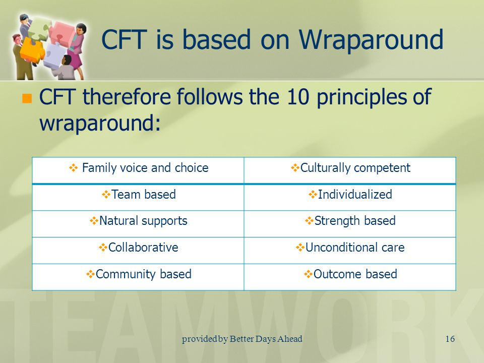 provided by Better Days Ahead15 CFT is a different process Old ProcessCFT Process Driven by what's not workingDriven by what's working Families were sometimes considered dysfunctional Families are considered to be functioning as well as they can Behaviors result from bad choicesBehaviors result from unmet need Professionals are the experts about everything Families are the experts about their family Service driven processNeeds driven process Services provided as available Needs drive services tailored to the family Provided services to help familyEmpowers family and teaches skills