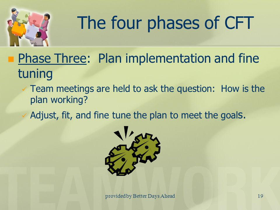 provided by Better Days Ahead18 The four phases of CFT Phase Two: Plan development Your care coordinator schedules an initial meeting that is convenient for you, your family, your natural supports and any necessary providers.